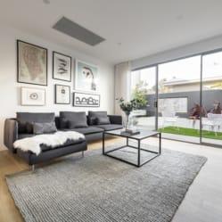 cowhide rug, open space living room