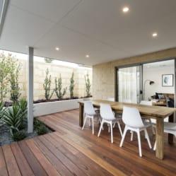 outdoor area, wood like floor boards