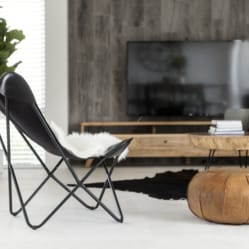 butterfly chair, cowhide chairs and rugs