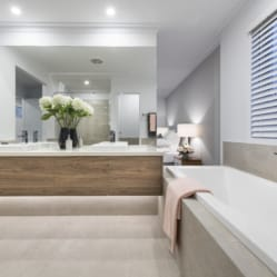 white modern bathroom, light wood cabients